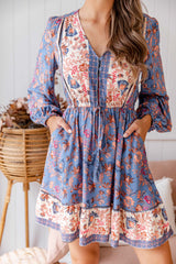 GRETA BOHO DRESS - CORNFLOWER BLUE