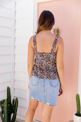 LOLA CAMI TOP - NAVY FLORAL