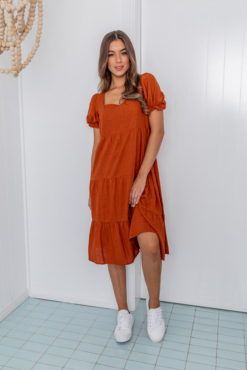 LAYLA MIDI DRESS - TERRACOTTA