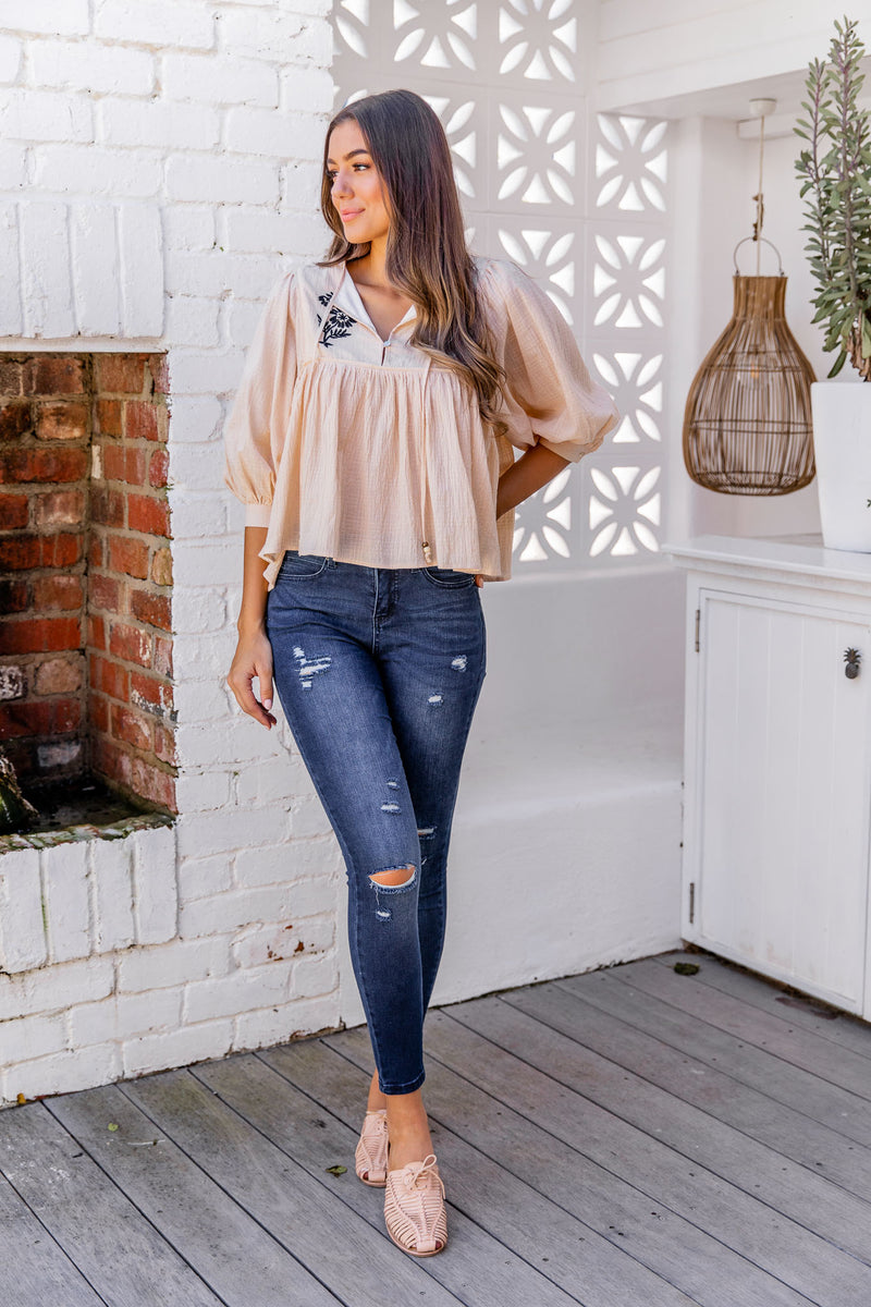 GIANNA BOHO TOP - CREAM