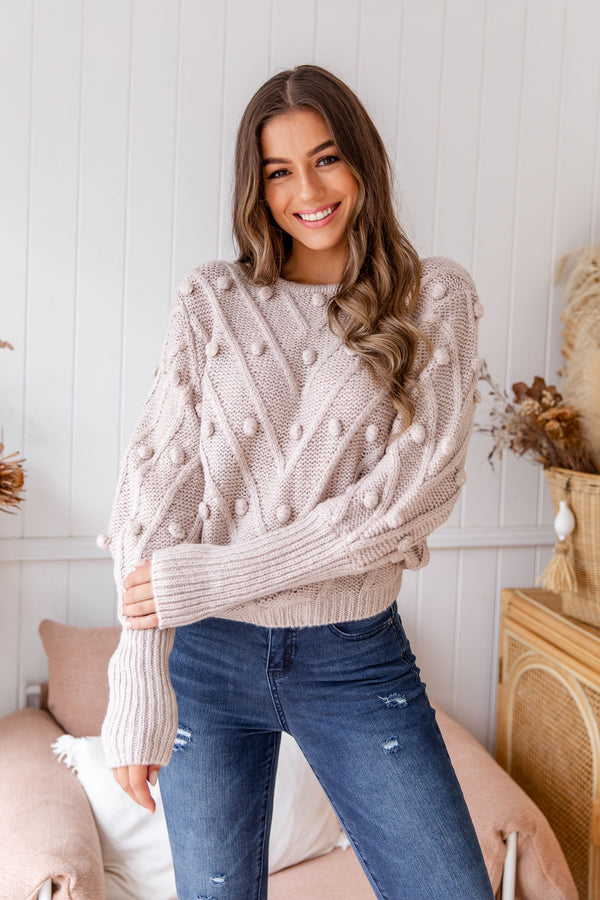 TILLY POM POM KNIT - MUSHROOM - The Self Styler