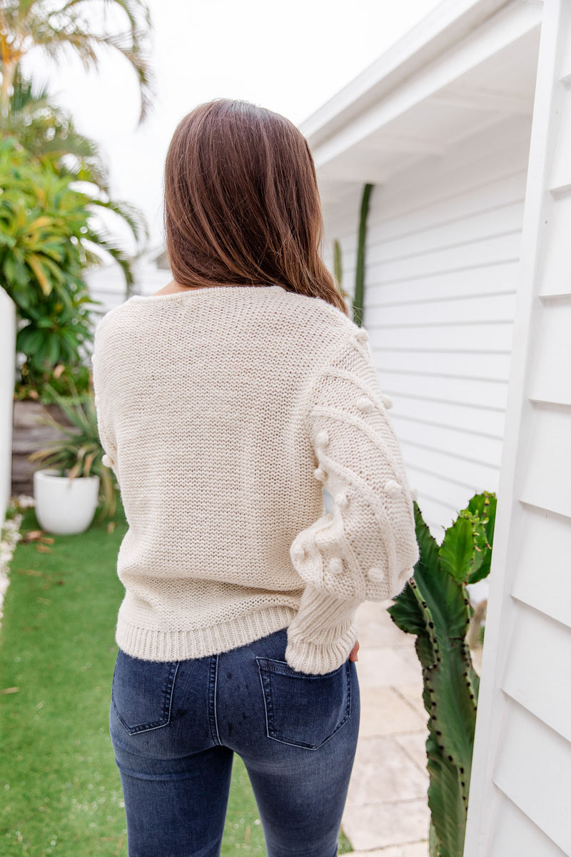 TILLY POM POM KNIT - IVORY - The Self Styler