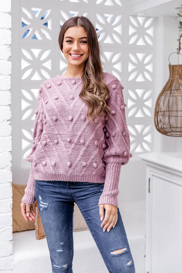 TILLY POM POM KNIT - MAUVE - The Self Styler