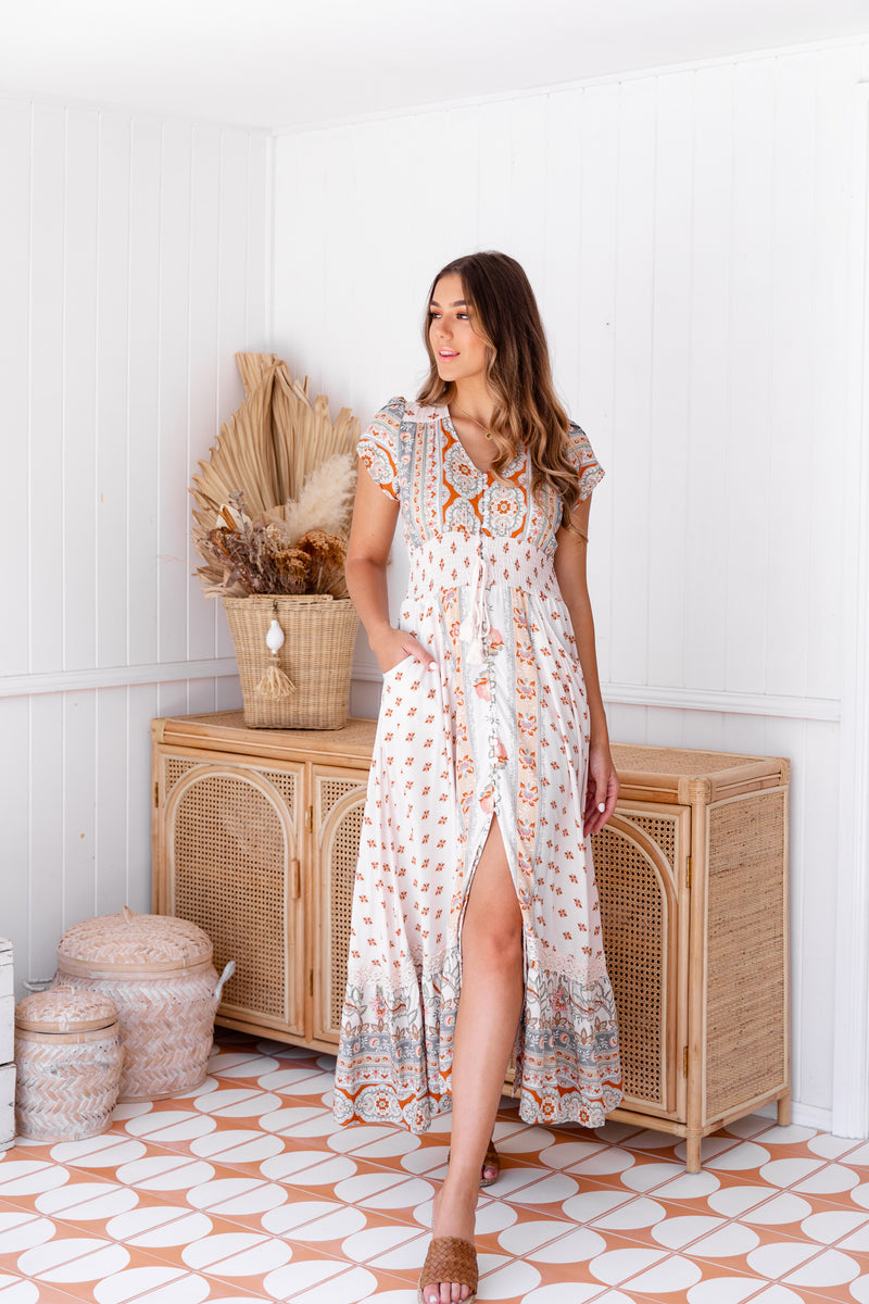 ROMI MAXI DRESS - PEACHES - JAASE