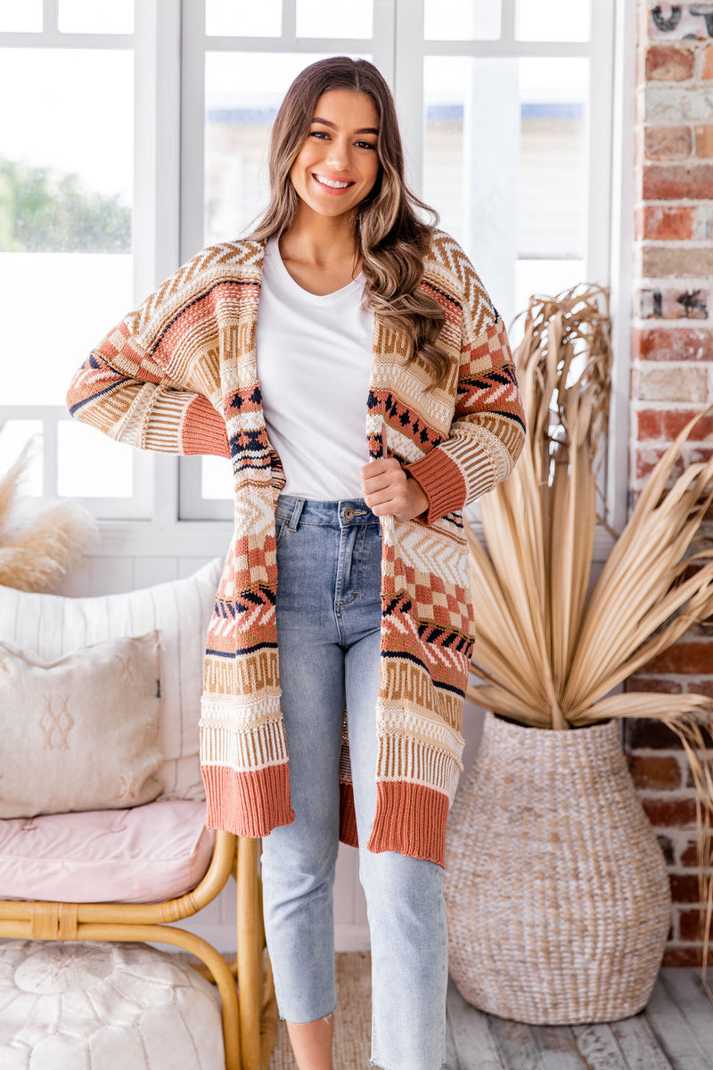 ASPEN BOHO CARDIGAN - BROWN AZTEC
