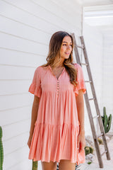 TAELYNN DRESS - CORAL