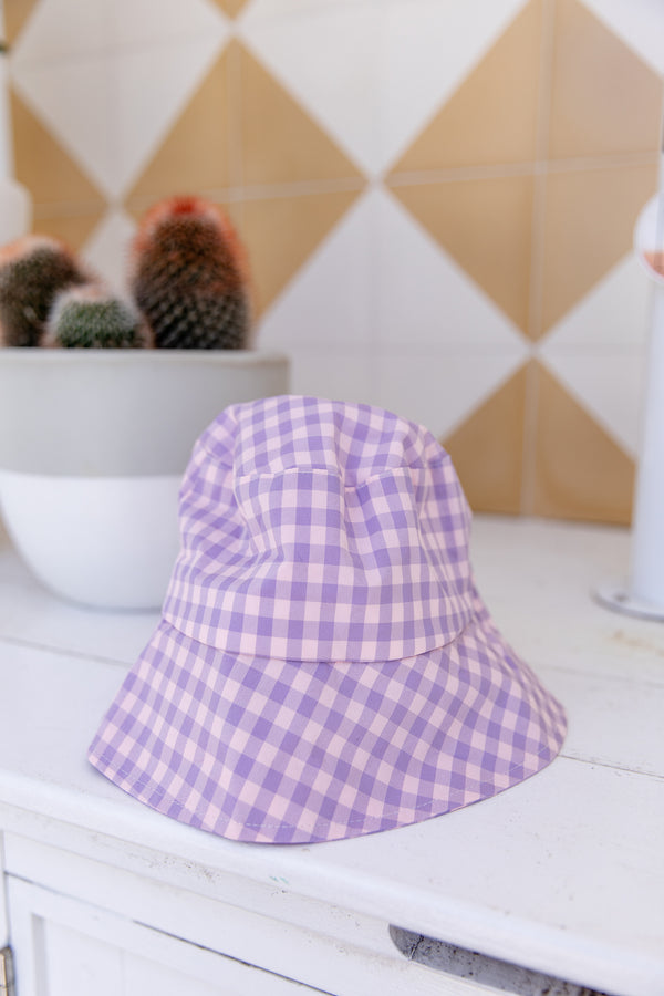 BAILEY GINGHAM BUCKET HAT - LILAC