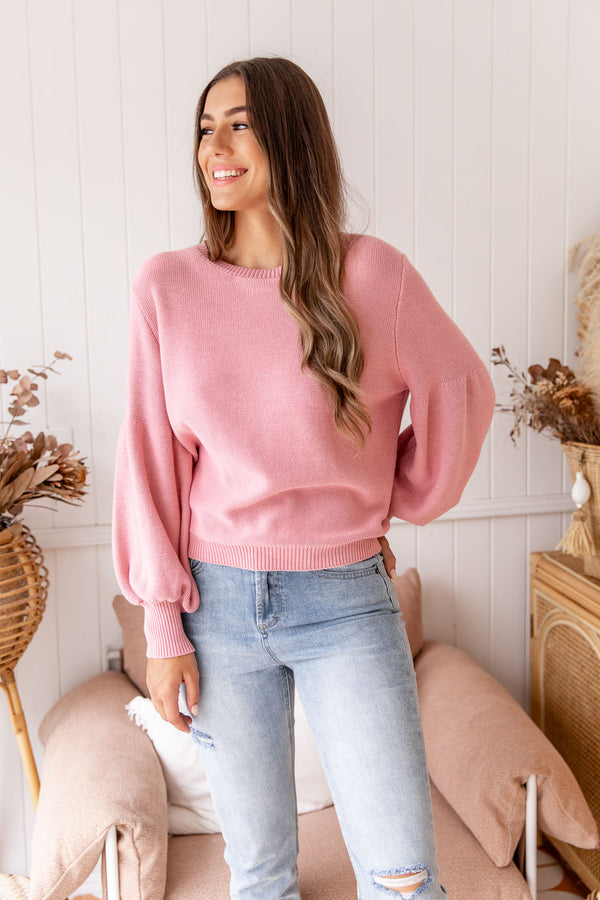 ELLE KNIT TOP - PINK - The Self Styler