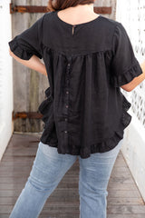 FINN BOHO LINEN TOP - BLACK