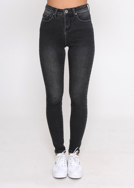 KHLOE SKINNY DENIM JEANS - STONE WASH BLACK