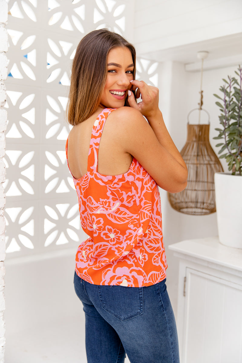LOLA CAMI TOP- CORAL RED