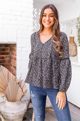 PARIS BOHO TOP - BLACK FLORAL - The Self Styler
