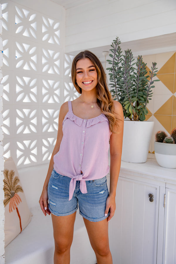 SORRENTO LINEN TOP - LILAC