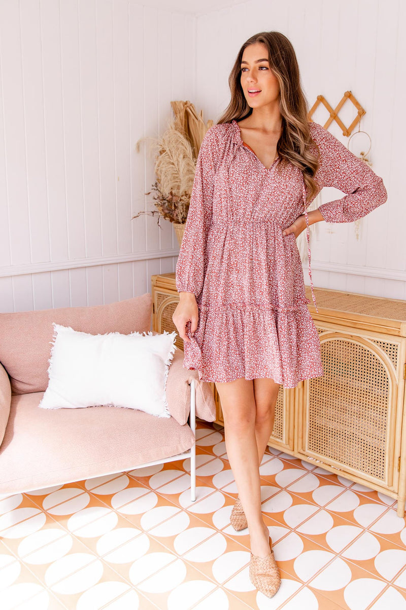 ZARA BOHO DRESS - CRIMSON BROWN