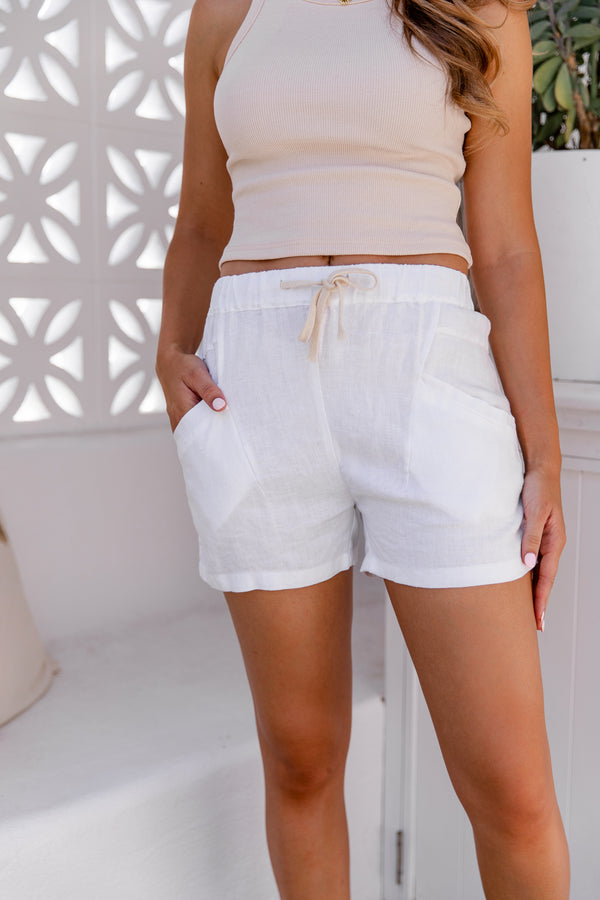 SHELLY LINEN SHORTS - WHITE