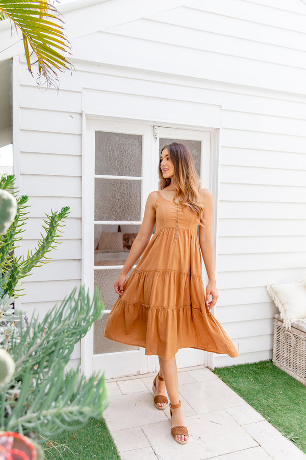 MOLLIE MIDI DRESS - TAN