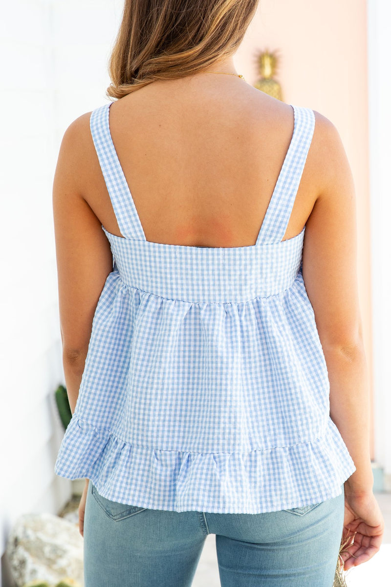 TORI GINGHAM TOP - SKY BLUE
