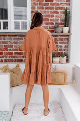 CASSIE COTTON SHIRT DRESS - TAN - The Self Styler