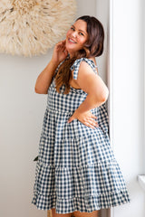 ZEPHYR GINGHAM DRESS - MARINE BLUE