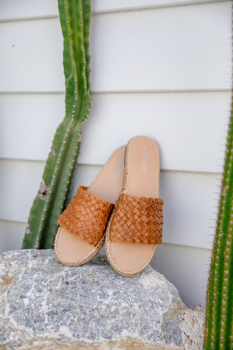 CHRISSY WOVEN LEATHER SLIDES - TAN