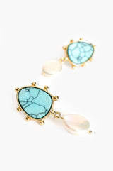 MARTINA TURQUOISE PEARL DROP EARRINGS