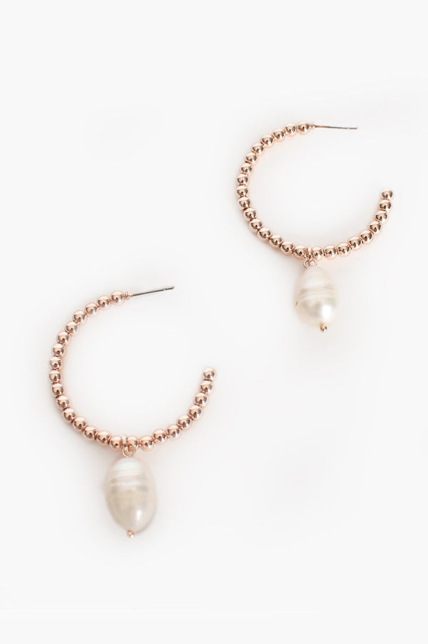 FLORENCIA PEARL DROP EARRING - ROSE GOLD