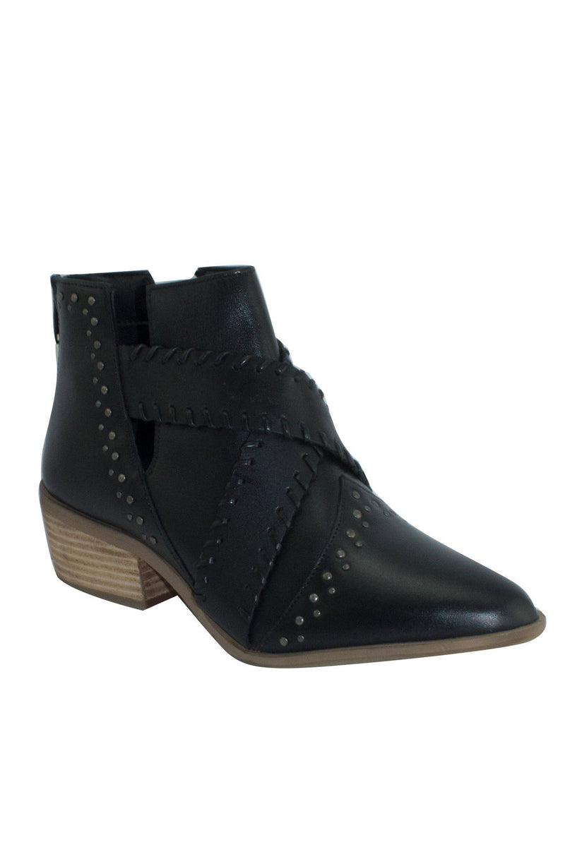 LIZA STUDDED LEATHER ANKLE BOOTS - BLACK