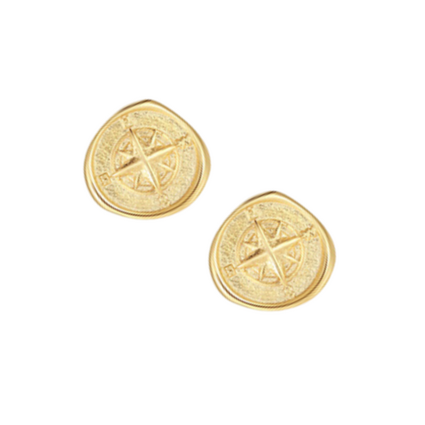 SANAA COMPASS STUD EARRINGS - GOLD - by Saint Lucia