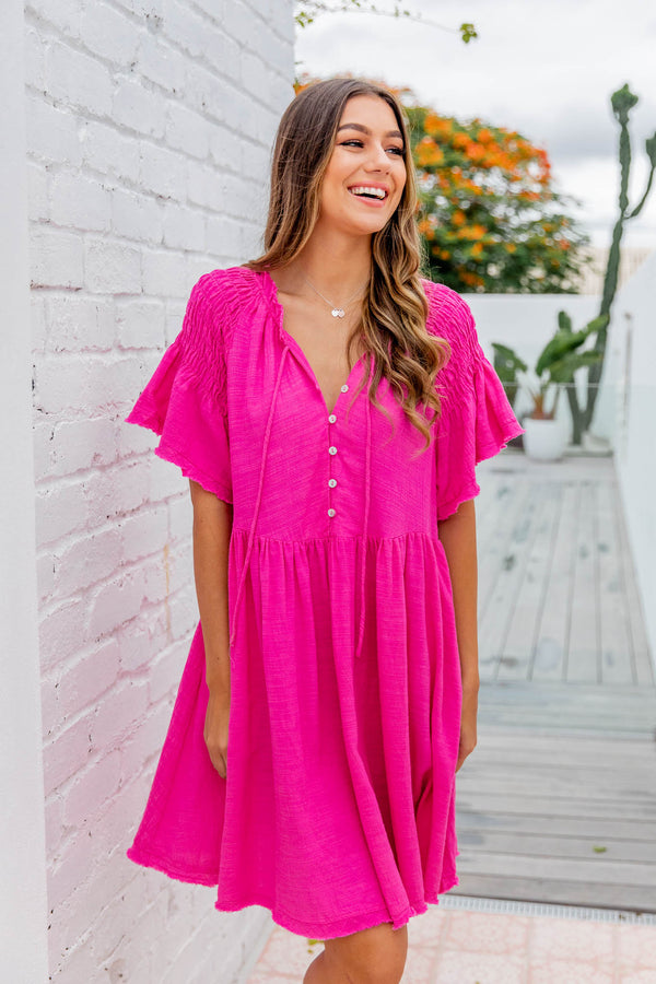 SASHA DRESS - HOT PINK
