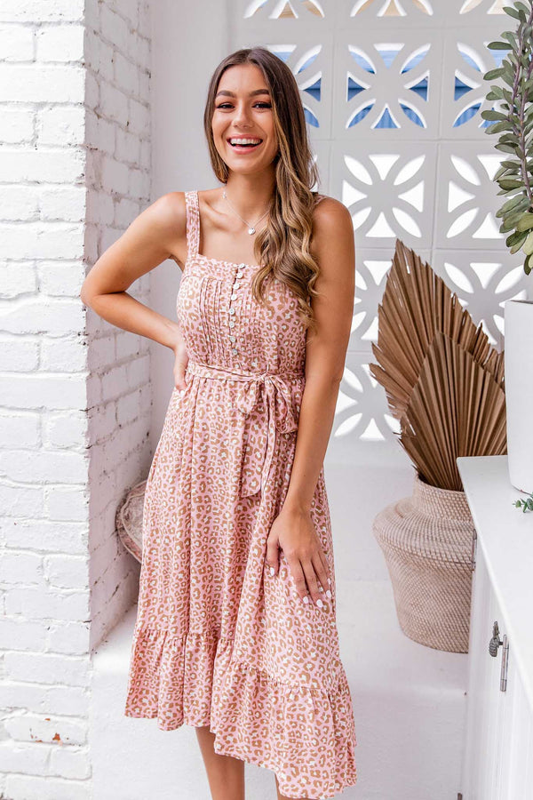 SARA MIDI DRESS - PINK LEOPARD