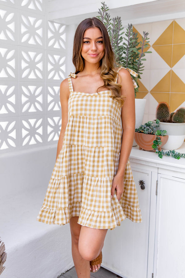 ZEPHYR GINGHAM DRESS - MUSTARD
