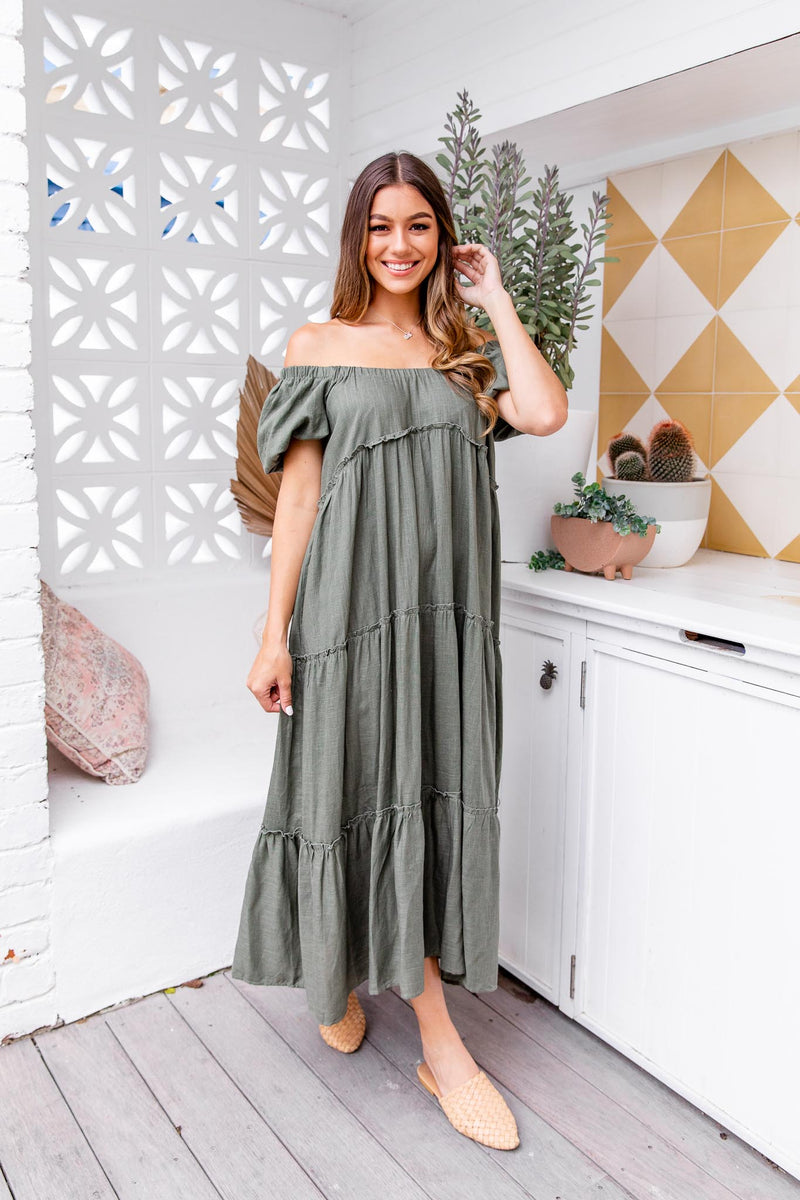 XAVIER MAXI DRESS - KHAKI