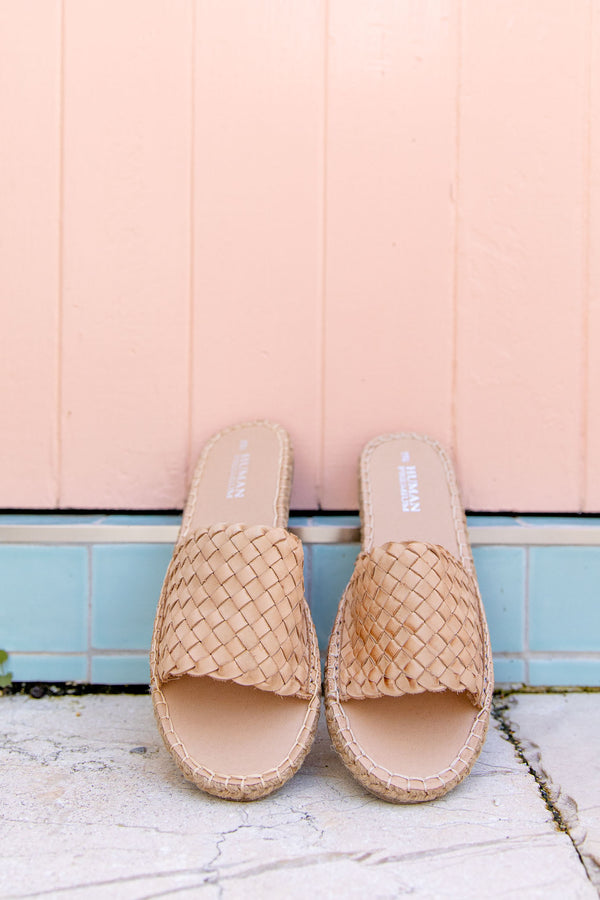 CHRISSY WOVEN LEATHER SLIDES - NATURAL