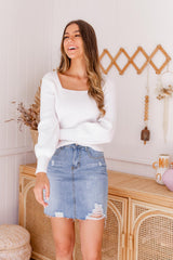 STACEY KNIT TOP - WHITE