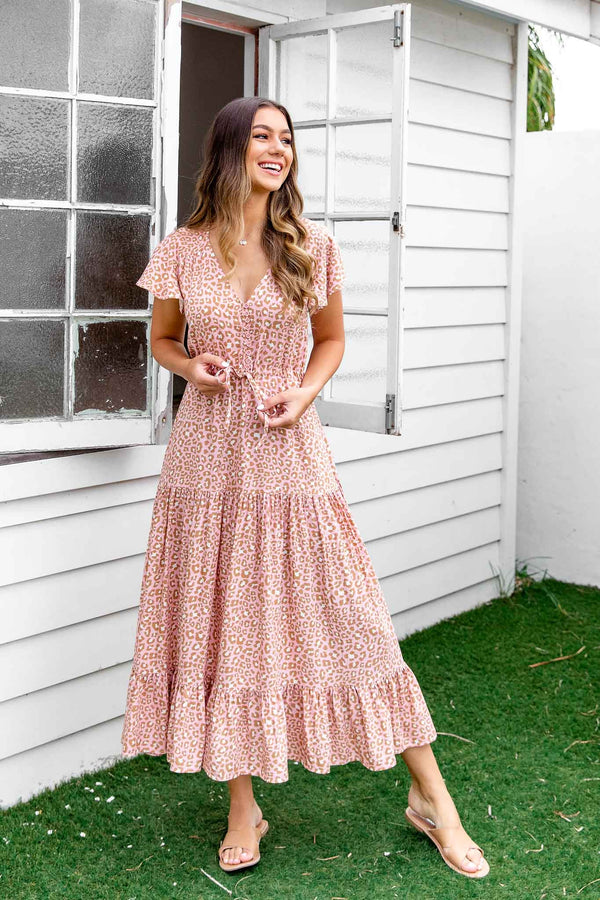 MIA BOHO MAXI DRESS - PINK LEOPARD