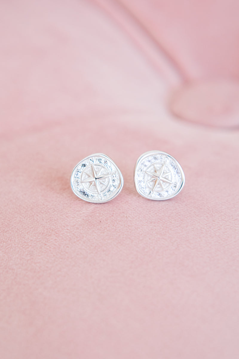 SANAA COMPASS STUD EARRINGS - SILVER - by Saint Lucia