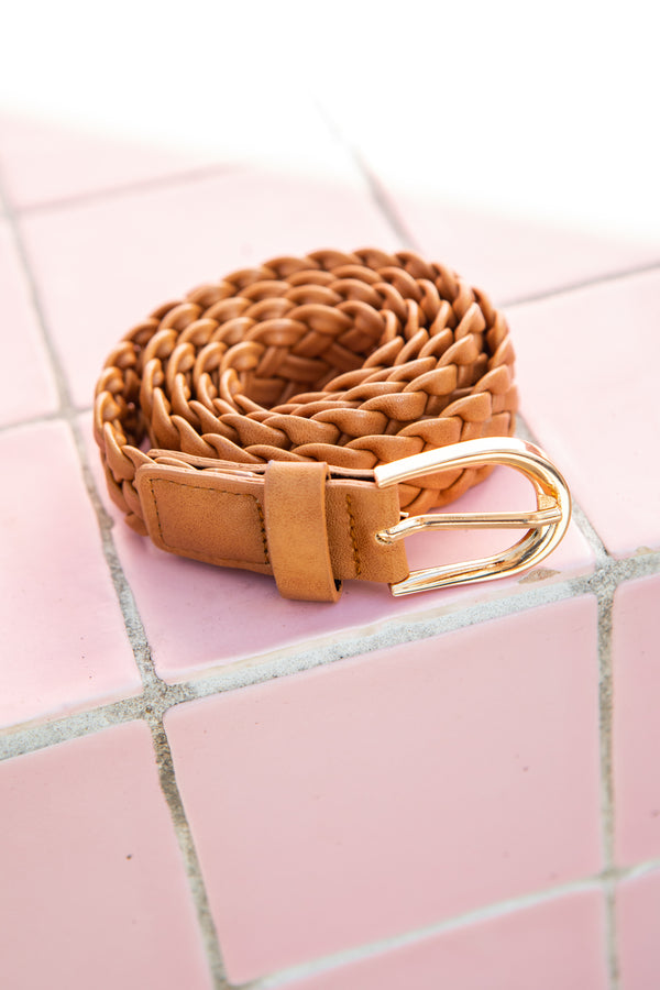 KELLIE PLAITED BELT - TAN