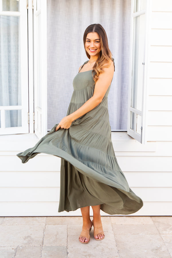 CHARLIE MAXI DRESS - KHAKI