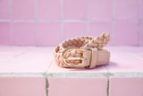 KELLIE PLAITED BELT - NUDE