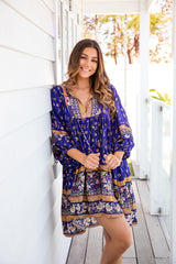 ADELA BOHO SMOCK DRESS - ROYAL PRINT