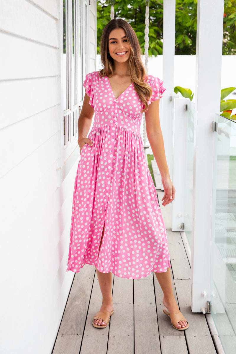 LENNON DRESS - PINK SPOT