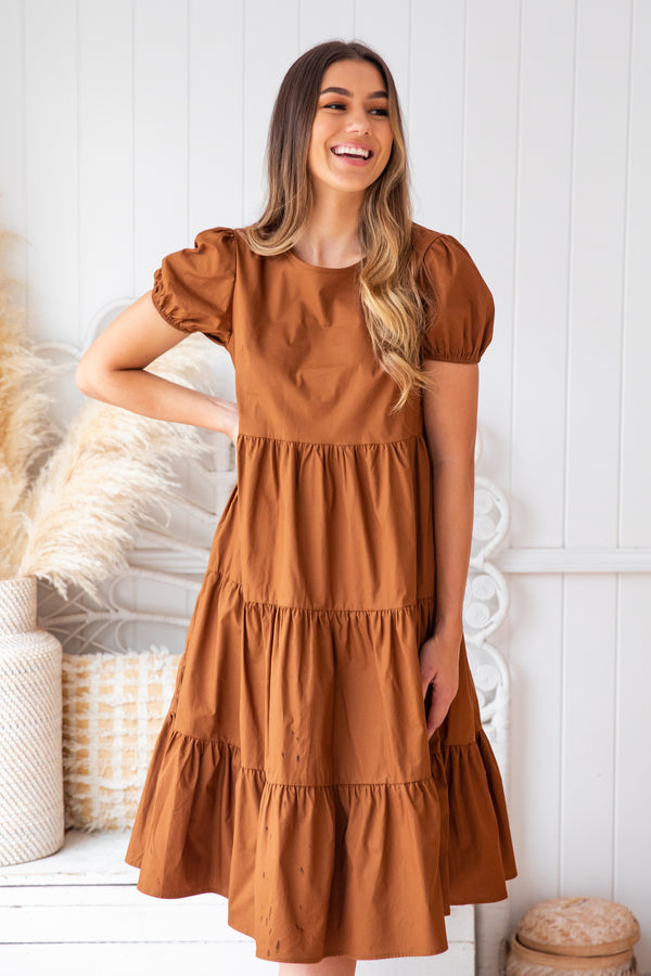 FRIDA MIDI DRESS - CHOCOLATE