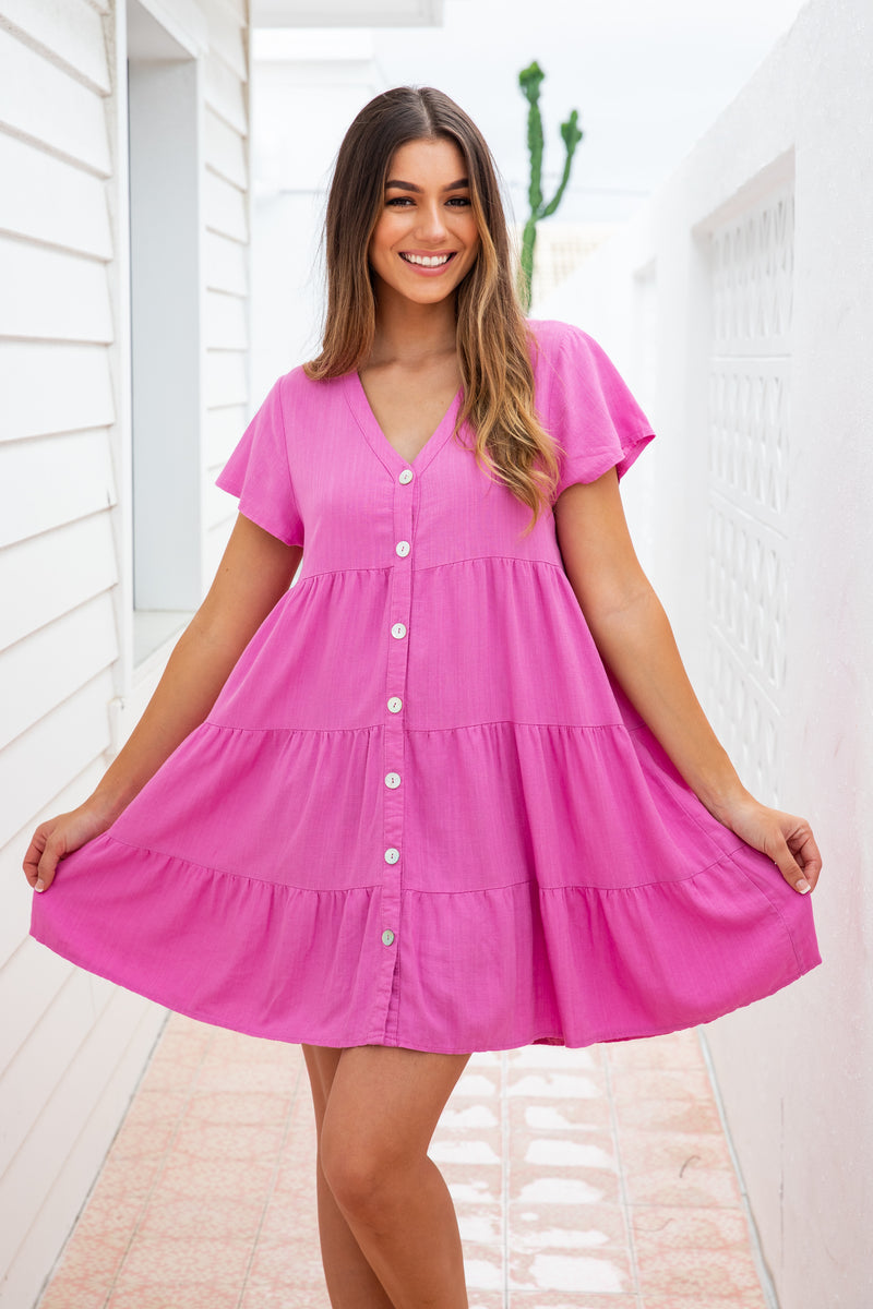 TIFFANY LINEN DRESS - PINK