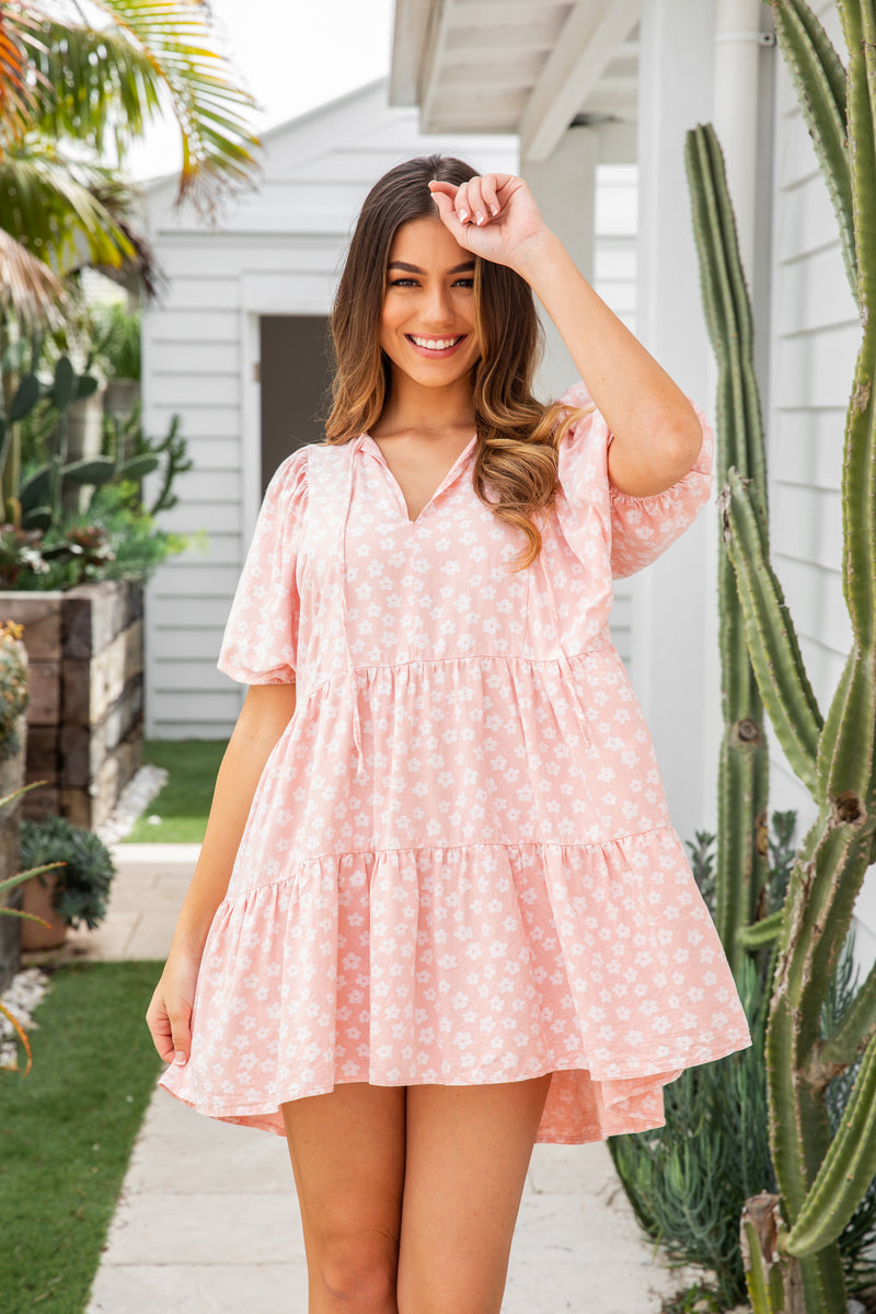 KAYLEE TUNIC DRESS - PINK FLORAL
