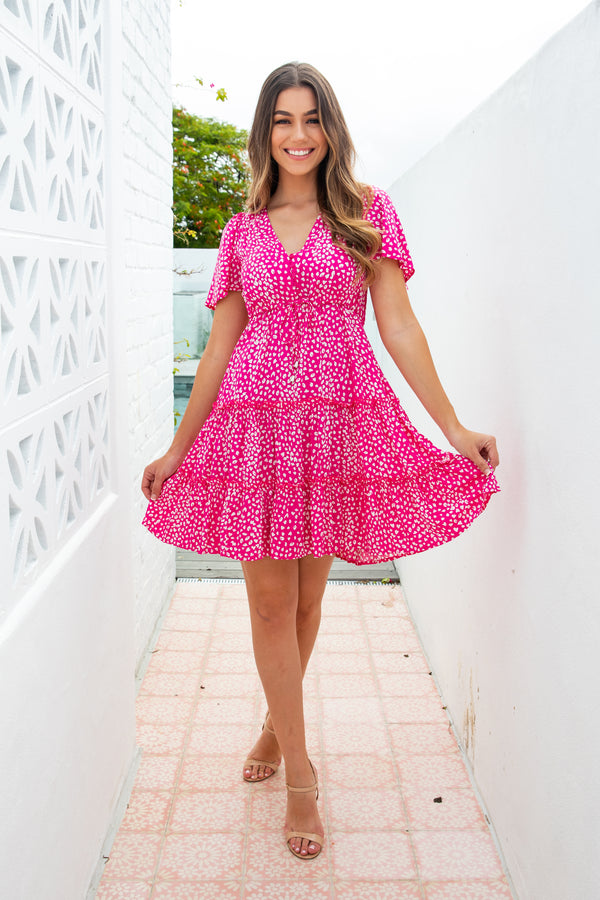 ARLO DRESS - PINK FUSCHIA LEOPARD