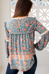CLOVER BOHO TOP - BLUE FLORAL
