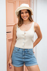 AMBER KNIT TANK TOP- SAND