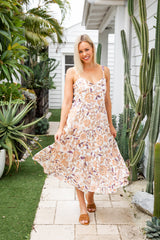 VERA BOHO MIDI DRESS - BEIGE FLORAL - The Self Styler