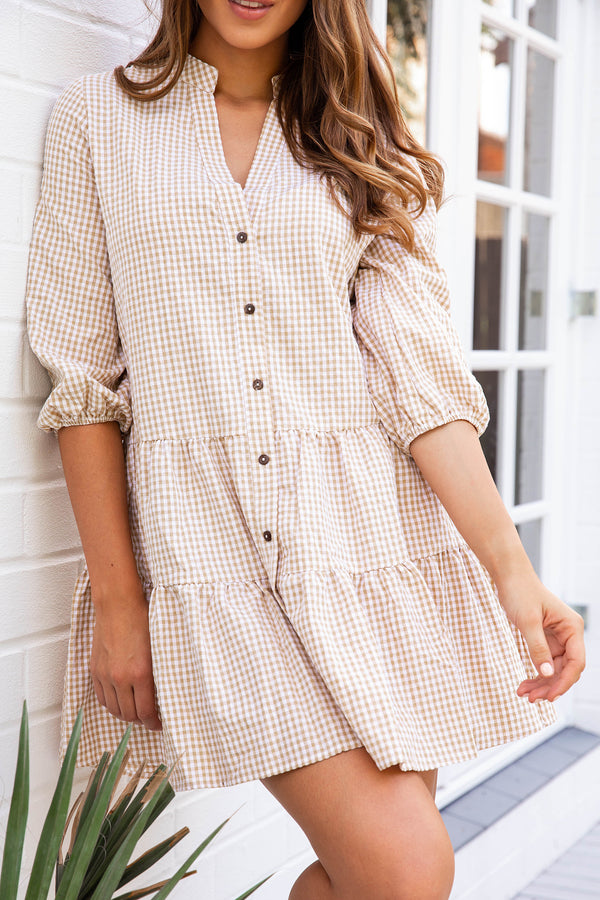 JAMES GINGHAM DRESS - BEIGE