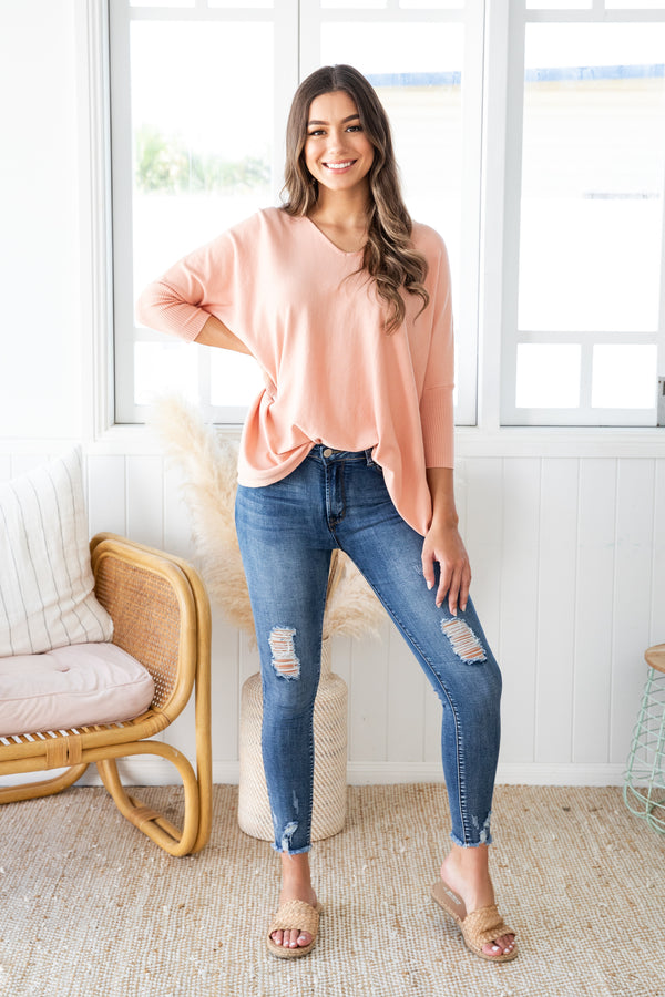 ASHLYN KNIT - PEACH - The Self Styler